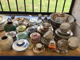 Oriental ceramics mainly 19th century, including large Imari bowl, eggshell teaware etc
