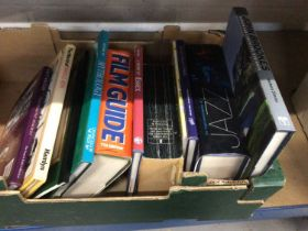 Box of books, including Essex related, together with a framed print and a box of knitting patterns