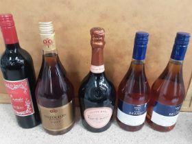Bottle of Laurent-Perrier Champagne, 1 litre bottle of Napoleon VSOP Brandy, two other bottles of br
