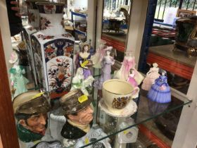 Group of 8 Coalport and other figures together with two Royal Doulton character jugs and two pieces