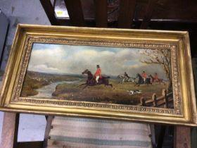 Gilt-framed oil painting of a hunting scene