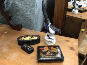 Russian lacquer boxes, Russian porcelain magpie figure