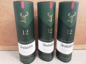 Three bottles of Glenfiddich The Original Twelve 75cl single malt scotch whisky, in original boxes