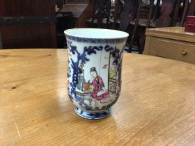 18th century Chinese famille rose porcelain tankard, painted with figures and flowers