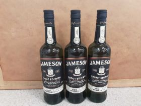 Three bottles of Jameson Stout Edition 70cl Irish whisky