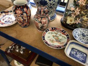 Quantity of oriental porcelain, including two Japanese Imari vases and two dishes, a blue and white
