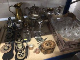 Quantity of silver plate, brass, glassware and sundries, together with a Norwegian silver Christenin