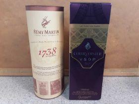 Bottle of Courvoisier V.S.O.P Cognac 70cl and a bottle of Remy Martin Cognac Fine Champagne 70cl, bo