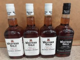 Three bottles of Western Gold Sour Mash Kentucky Bourbon whisky and another bottle of Western Gold 5