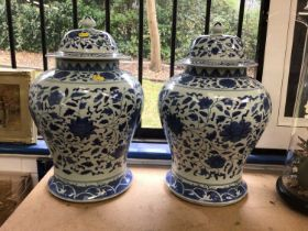 Pair of Chinese blue and white baluster vases
