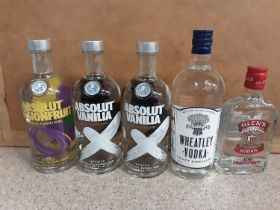 Three bottles of Absolut Vodka 70cl, bottle of Wheatley Vodka 70cl and a bottle of Glen's Vodka 35cl