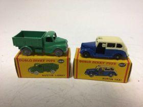 Dinky Dublo, VW Delivery Van 071, Royal Mail Van 068, Commer Van 063, Austin Taxi 067, Austin Lorry