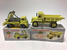 Dinky Supertoys Euclid Rear Dump Truck No 965, Marrel Multi-Bucket Unit No 966, both boxed (2)