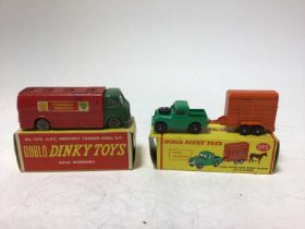 Dinky Dublo Bedford flat trunk 066, Bedford Articulated Flat truck 072, Land Rover and Horse Trailer