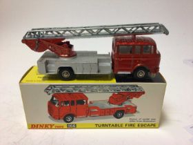 Dinky Supertoys fire engine with extending ladder No. 955 boxed plus Dinky turntable fire escape No.