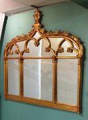 Gothic Style Gilt Overmantle Mirror 150cm W x 147cm H