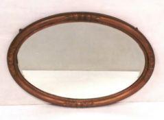 Vict Gilt Oval Bevelled Mirror 88cm W x 63cm H