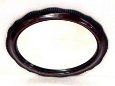 Vict Oval Mahogany Bevelled Mirror 65cm W x 54cm H