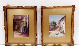 Pair of Vict Gilt Framed Watercolours 35cm W 42cm H