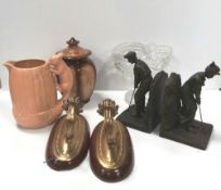 Exceptional Misc Box of Wall Sconces, Book Ends ,