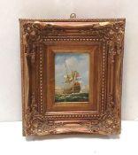 Heavy Gilt Framed Nautical Scene 34cm x 39cm H
