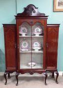 Edw Inlaid Mahogany Breakfront Display Cabinet 138cm W 40cm D 190cm H