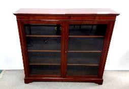Edw Period Inlaid Mahogany Slimline Floor Bookcase 132cm W 22cm D 111cm H