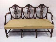 Hepplewhite Style Mahogany 3 Seater Hall Bench 149cm W 56cm D 98cm H