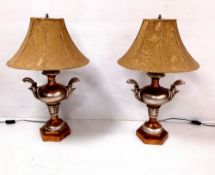Pair of Gilt & Silver Table Lamps 76cm H