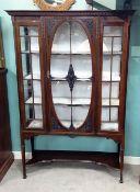 Edw Mahogany Display Cabinet 125cm W 40cm D 185cm H