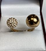 Rose Gold Brigid Double Ball Ring,