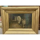 Impressive Vict Oil on Canvas '3 Cats' Including Frame 71cm W x 55cm