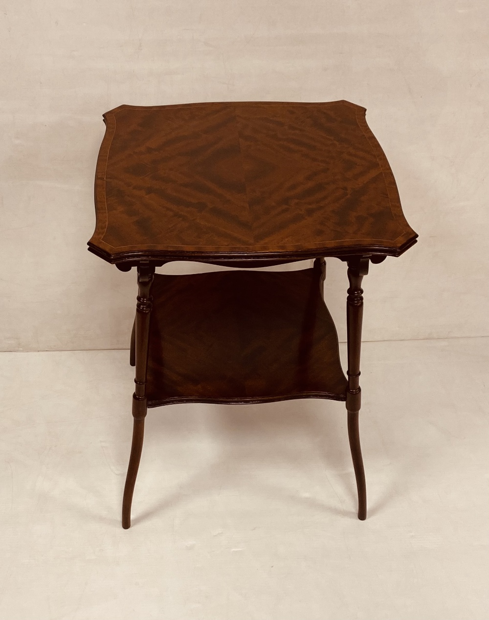 Very Clean Edw Inlaid Mahogany 2 Tier Side Table 50 cm Sq x 68cm H