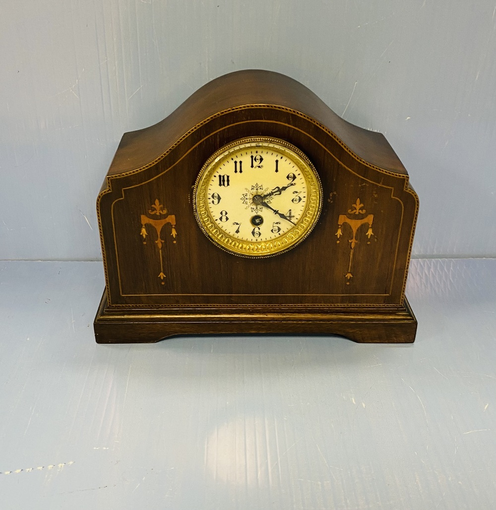 Edw Inlaid Mahogany Mantel Clock 31cm W 13cm D 23cm H