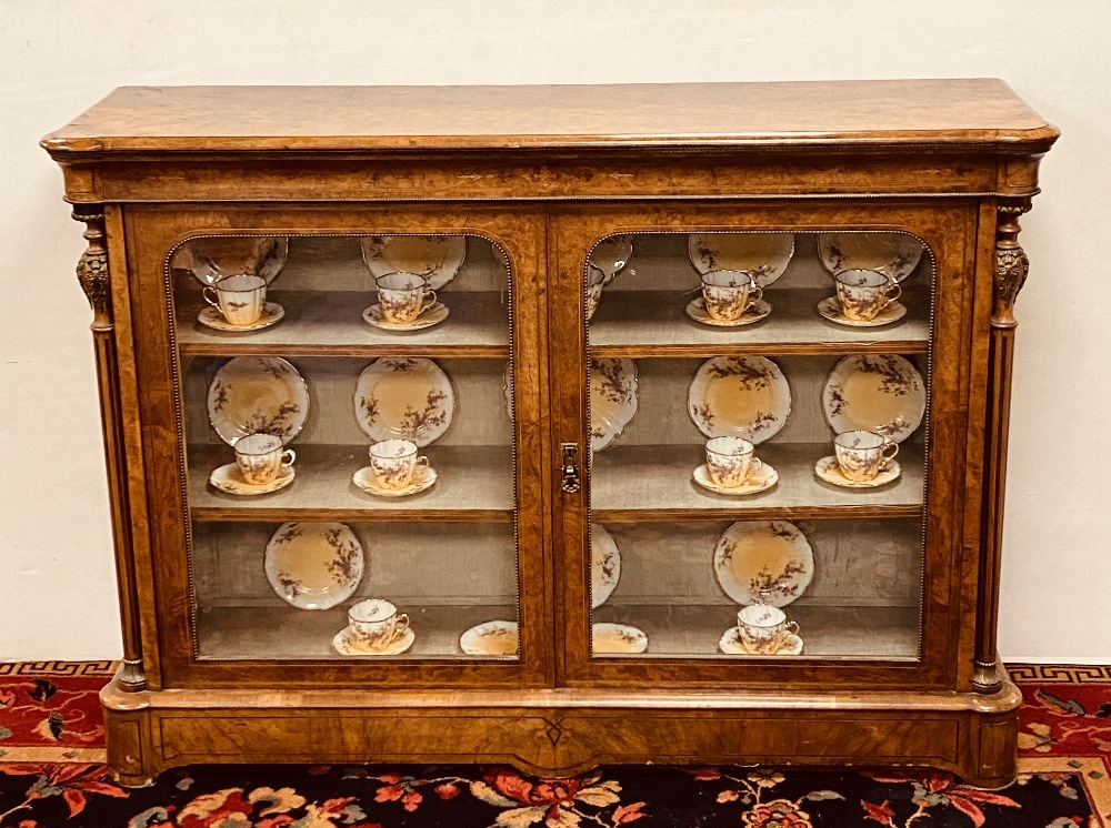 Rare Quality 19C Burr Walnut 2 Door Pier Cabinet 150cm W 42cm D 108cm H