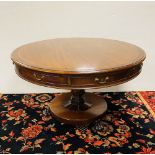 19C Mahogany Drum Table with Satinwood & Flame Mahogany Cross Band with Glass Top 123cm Diam 74cm