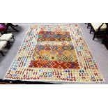 Very Fine Semi Antique Caucasian Flat Weave Carpet , Vegetable Dye All Over, Diamond Medallions,
