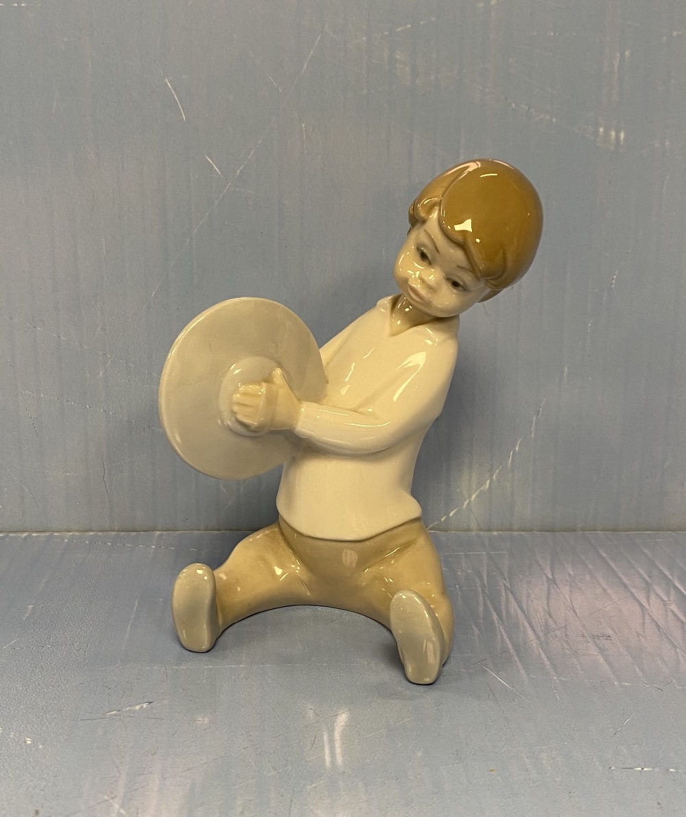 Lladro Figure of a Boy and Cymbles 14cm H