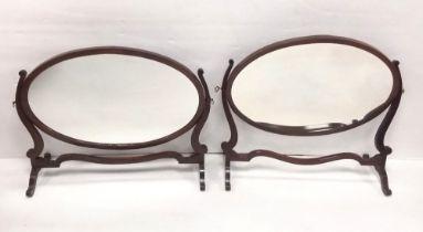 Pair of Edw Mahogany Crutch Mirrors