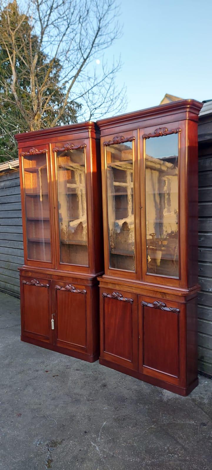 Very Rare Pair of Narrow and Slimline 19C Mahogany Bookcases (1) 100cmW 29cmD 242cmH (2)