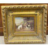 Heavy Gilt Framed Oilogram of Dogs 52cm W x 48cm Including Frame