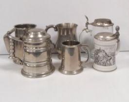 Selection of Pewter & Porcelain Tankards