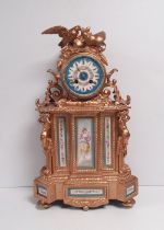 French 19C Gilded Mantel Clock with Hand Painted Serves