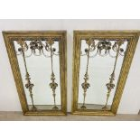 Stunning Pair of Wall Mirrors with Brass Decoration 72cm W x 133cm H