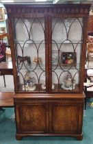 Good Quality Bevan Funnell 2 Door Display Cabinet 116cm W 40cm D 216cm H