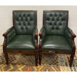 Good Quality Pair of Mahogany Leather Armchairs