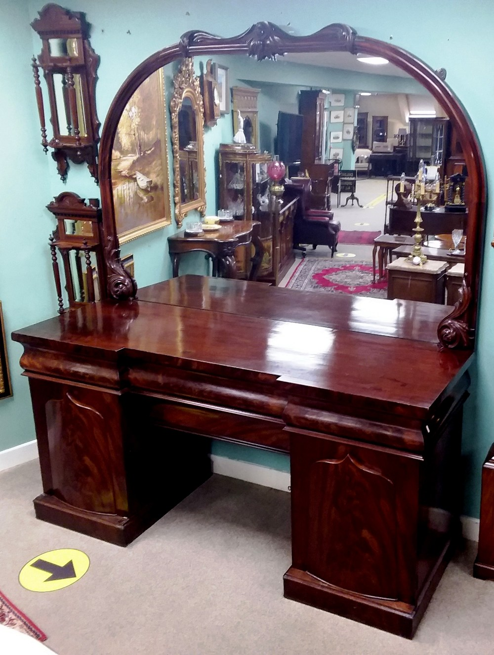 Very Impressive Early Vict Mahogany Mirror Back Sideboard in Mint Condition 200cm W 70cm D 230cm H