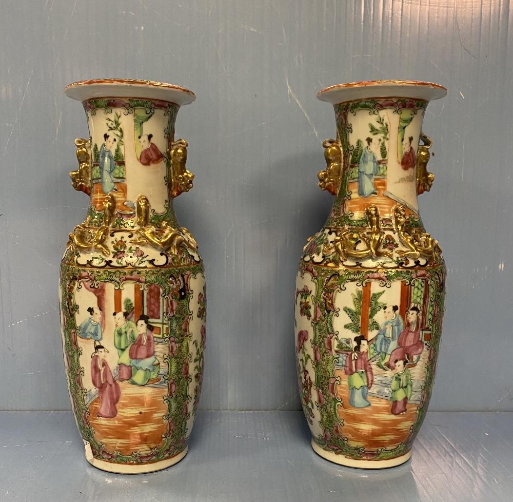 Pair of 19C Chinese Canton Vases 28cm H