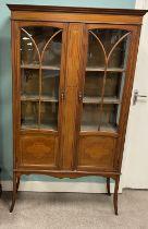 Edw Inlaid Mahogany Display Cabinet 197cm W 33cm D 171cm H
