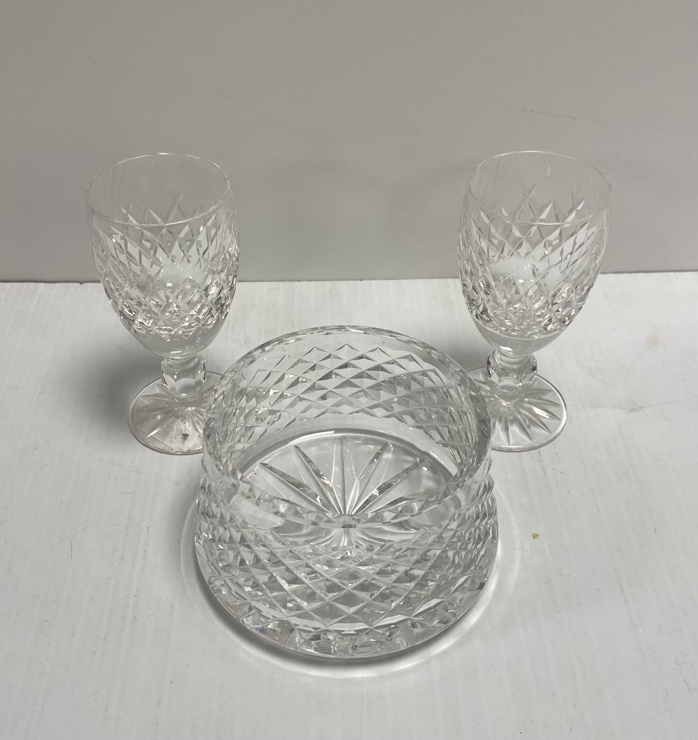 Pair of Waterford Sherry Glasses & Waterford Bowl
